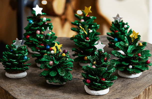 Christmas Trees made from pine cones