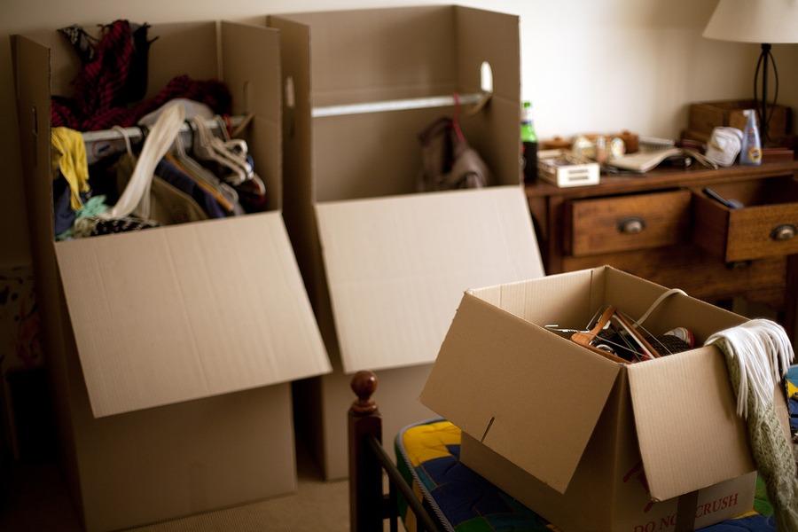 boxes of belongings