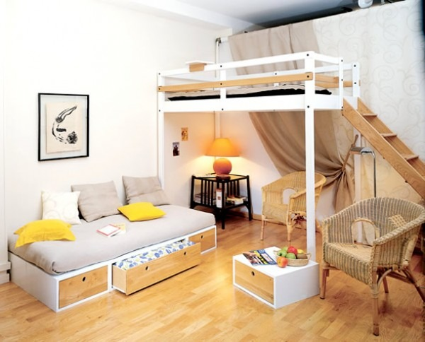 a space saving loft type bed