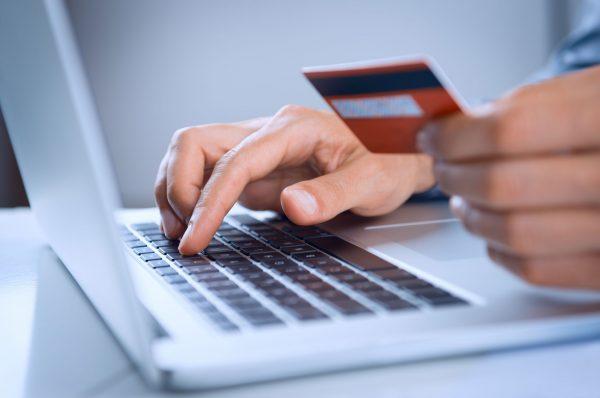 man making payment online web