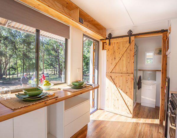 the interior of a tiny home