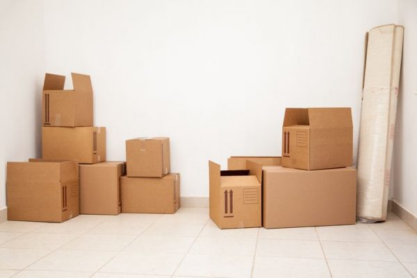 cardboard boxes stacked up