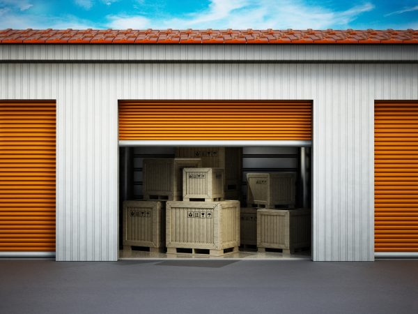 personal storage compartment loaded with transport crates