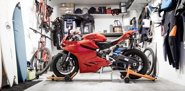 A big bike parked inside a garage storage