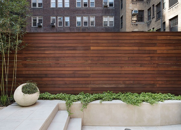 A garden wall made from wood