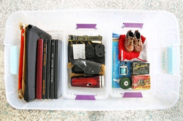 A storage box with baby items