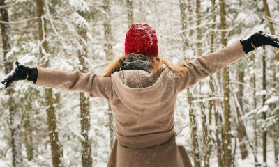 Woman enjoying the cold season