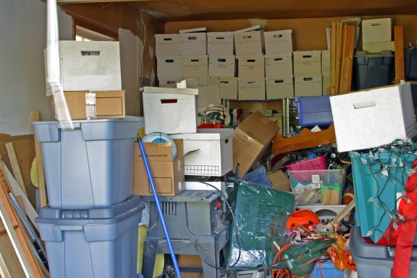Pile of boxes in a storage unit